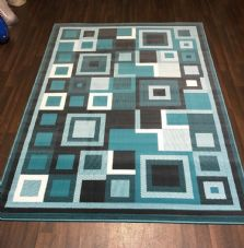Modern Approx 6x4ft 120x170cm Woven Backed Block Design Teal/Grey Quality rugs